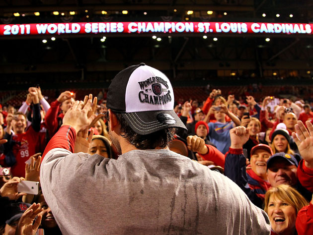 David Freese takes a victory lap (Getty)
