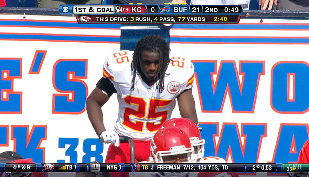 Jamaal Charles rides the bike as Peyton Hillis prepares to fumble