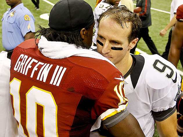 RGIII & Brees, post-game (USP)