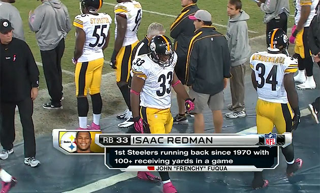 Rashard Mendenhall and Isaac Redman, both dinged on Thursday night (NFL Network)