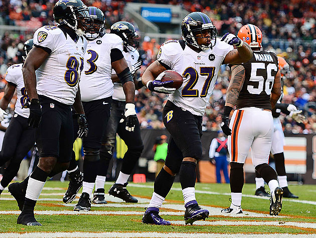 Ray Rice visits the end zone in Cleveland (US Presswire)
