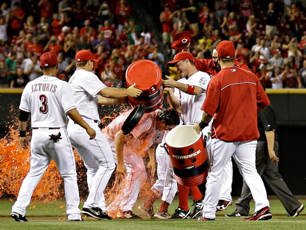 The Reds celebrate Bailey's new Shuffle Up ranking (AP)
