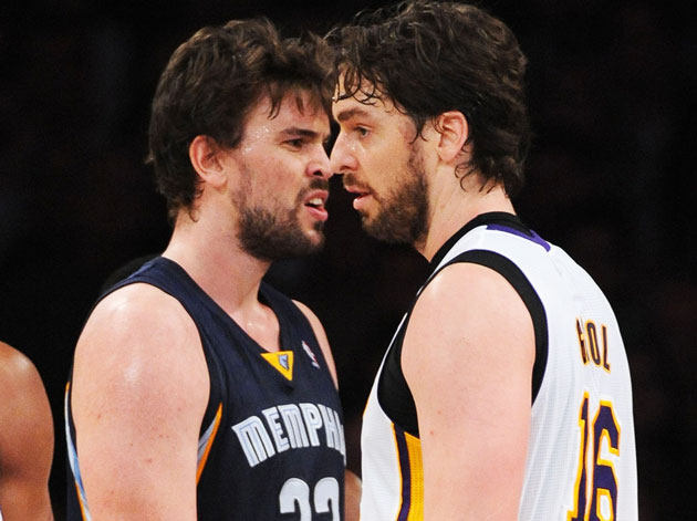 Pau and Marc Gasol go toe to toe (Getty)