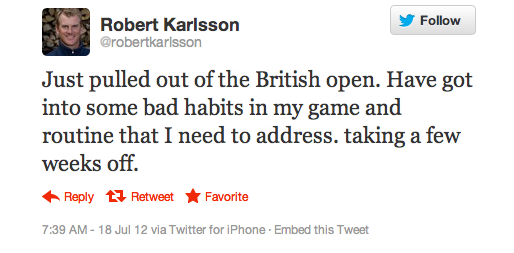 Robert Karlsson pulls out of the British Open for an odd reason