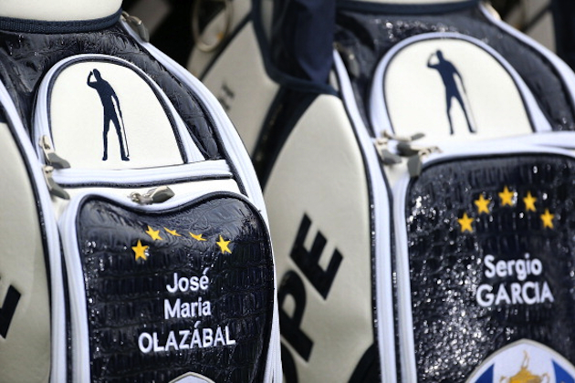 Europe's Ryder Cup bags have an emblem on them honoring the late Seve Ballesteros. — Getty Images