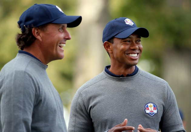 Phil Mickelson, Tiger Woods — Getty Images