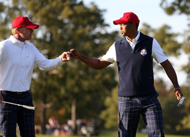 Steve Stricker and Tiger Woods will be paired together in the afternoon. — Getty Images