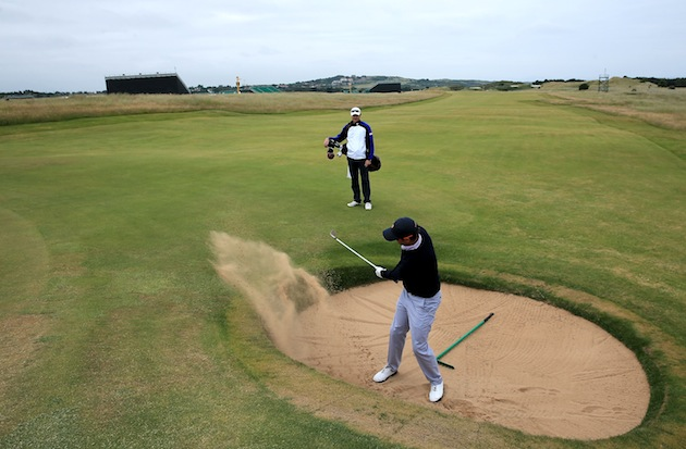 adam scott played muirfield and had to hit a bunker shot