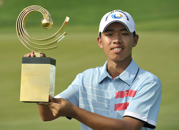 Guan Tianlang punched his Masters ticket with a win at the Asia-Pacific Amateur Championship. — AP