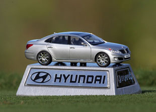 One of the classy tee  markers at the Hyundai TOC / Getty Images