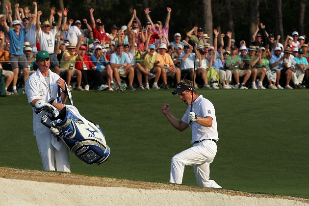 Luke Donald enjoys himself at the 2011 Masters. (Getty Images)