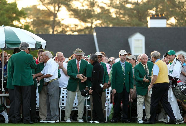 The masters of the game at the Masters. (Getty Images)
