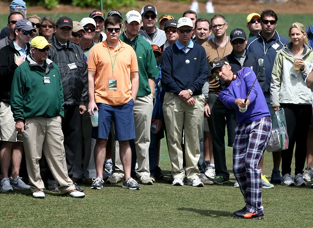 Ian Poulter is wearing a lovely ensemble. (Getty Images)
