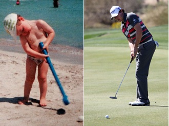 Rory McIlroy, then and now. (McIlroy family / Getty Images)