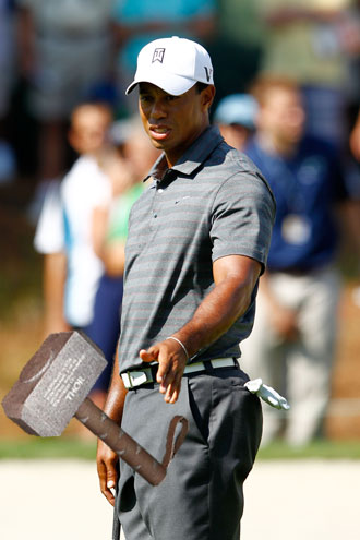 Not even the hammer of Thor could help Tiger Woods. (Getty Images/Devil Ball modifications)