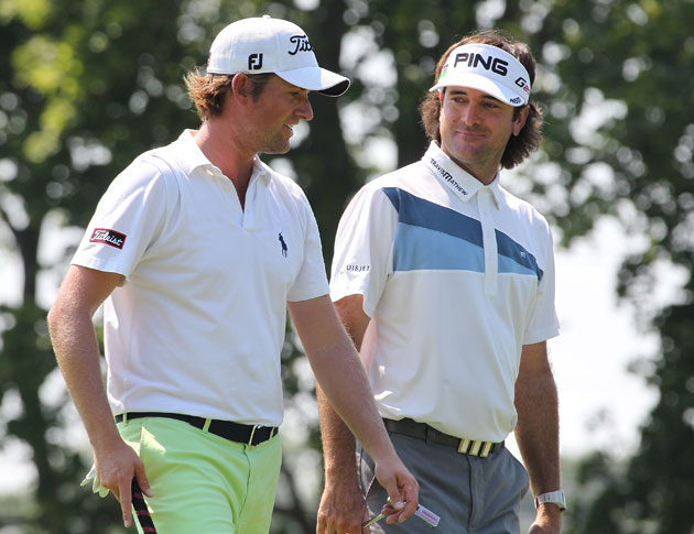 Webb Simpson and Bubba Watson, chill dudes chillin'. (Getty Images)