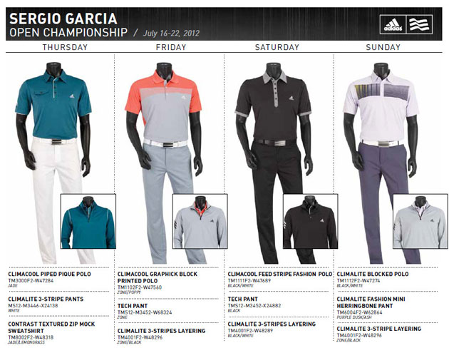 Here's the outfittery for Sergio Garcia, Dustin Johnson and Justin Rose