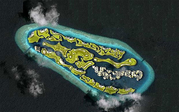 Artist's rendering of the floating Maldives golf course. (Via Waterstudio.nl)