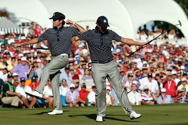 Bubba and Webb ain't here to cause no trouble. They're just here to do the Ryder Cup shuffle. (Getty Images)
