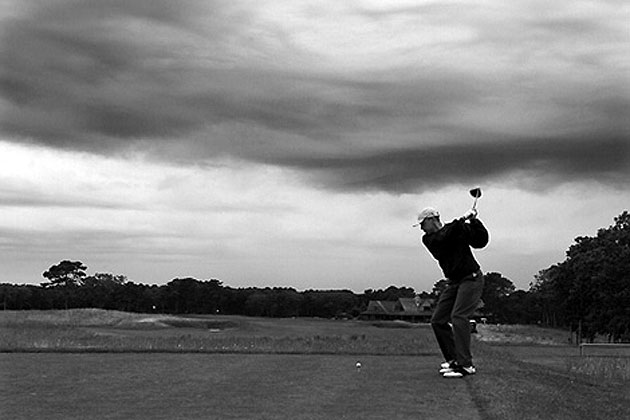 President Obama tees off. (Via the White House)