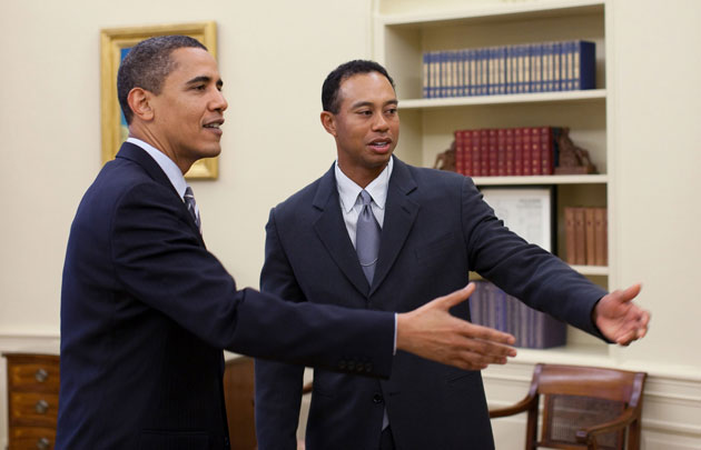 President Obama apparently taught Tiger Woods to dance in 2009. Tiger returned the favor on the golf course earlier this month. (Getty Images)