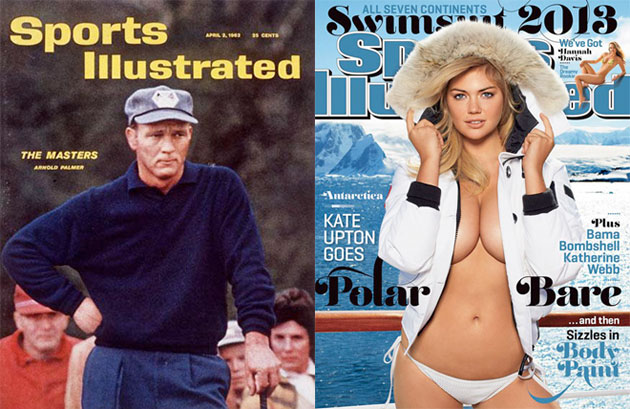 Arnold Palmer and Kate Upton, just a few years apart.