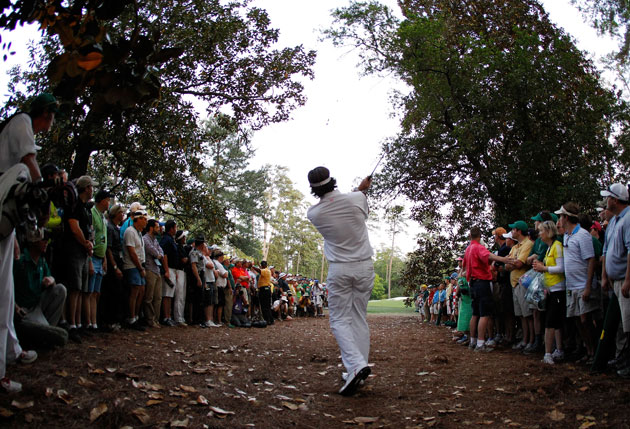 Bubba Watson from the trees. (Getty Images)