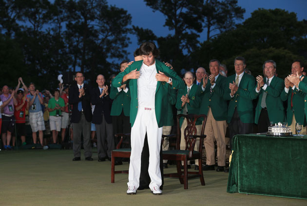 Bubba Watson joins the Green Jacket crew. (Getty Images)