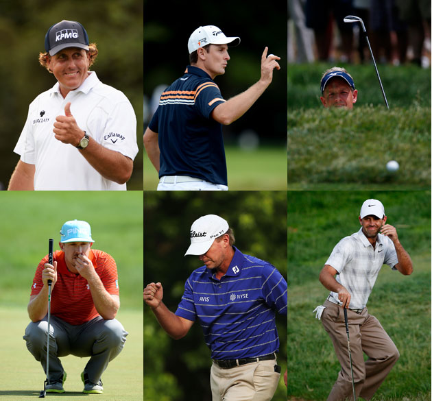 Phil Mickelson, Justin Rose, Luke Donald (top row); Hunter Mahan, Steve Stricker, Charl Schwartzel (Getty Images)