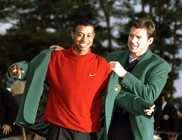 Tiger Woods and Nick Faldo. This is not a recent photo. (Getty Images)