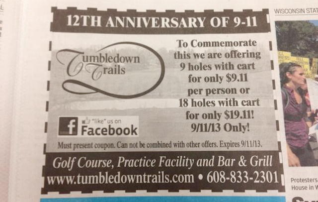 Golf club's '$9.11 for 9 holes on 9/11′ promo goes so very, very wrong