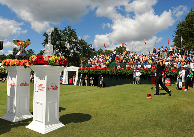 Henrik Stenson tees off at East Lake. (Getty Images)
