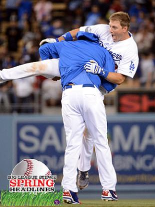 Matt Kemp builds team chemistry by spearing A.J. Ellis. (Getty)