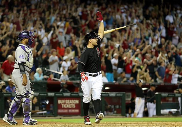 Cody Ross reacts to game-winning sac fly. (Getty)
