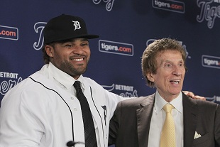 The $214 million reunion: Prince Fielder and Mike Ilitch. (AP)