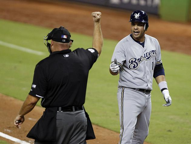 Aramis Ramirez reacts to Mark Carlson's call. (AP)