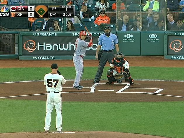 SF Giants batters box crooked