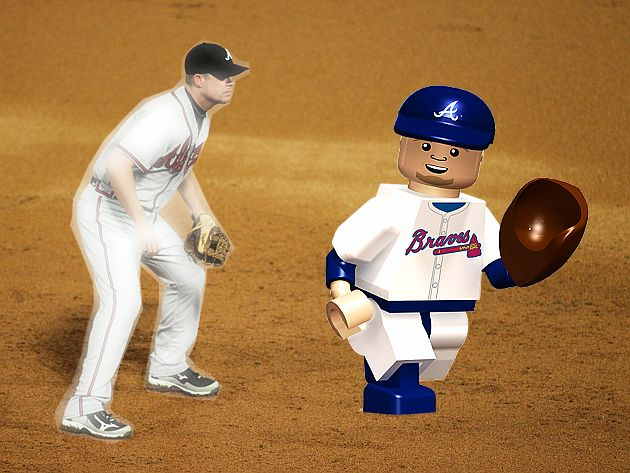 A Chipper Jones Lego-like figure retails for $12.99. (Getty, BLS Illustration)