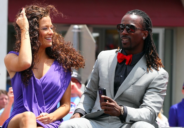 Pirates' MVP candidate Andrew McCutchen rides in Tuesday's All-Star parade with his special lady friend. (Getty)
