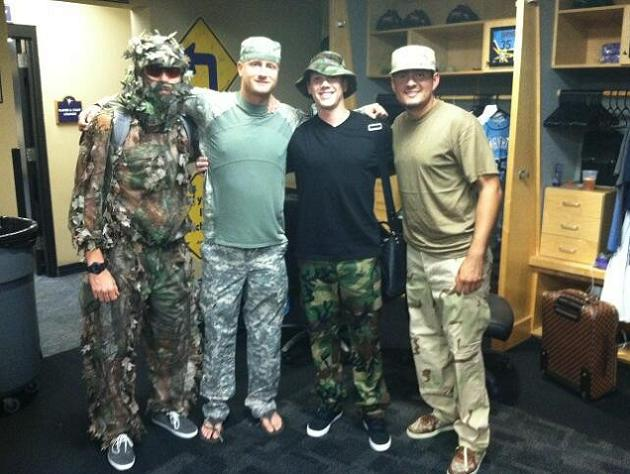 Matt Moore (far left) with Alex Cobb, Jeremy Hellickson and Cesar Ramos. (Rays)