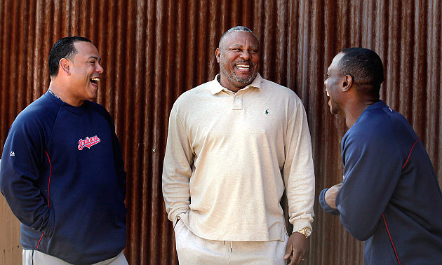 Carlos Baerga (left), Albert Belle and Kenny Lofton share a laugh . (AP)