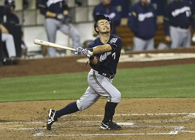 Norichika Aoki of the Brewers tries a new, totally unsafe way to wear a batting helmet. (AP)