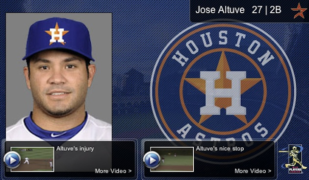 The player pages on the Astros' team site show the new logo. (MLB.com)