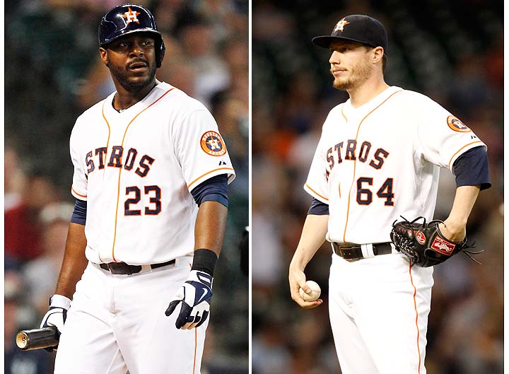 Chris Carter (left) and Lucas Harrell play for the Astros. (Getty)