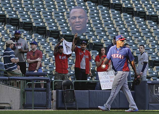 'Hey, Adrian Beltre, thanks for signing your head!' (AP)