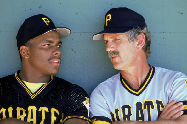 Bobby Bonilla and Jim Leyland chat in 1989. (Getty)