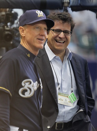 Brewers owner Mark Attanasio with manager Ron Roenicke. (Getty Images)