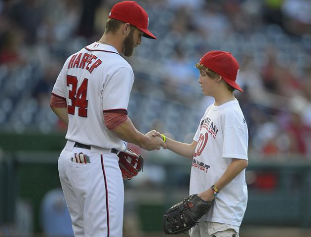Bryce Harper and 13-year-old Gavin Rupp. (Washington Post)