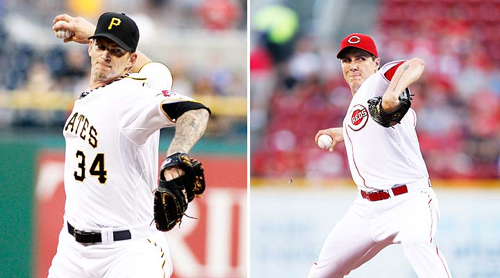 A.J. Burnett and Homer Bailey square off Friday night. (Getty)