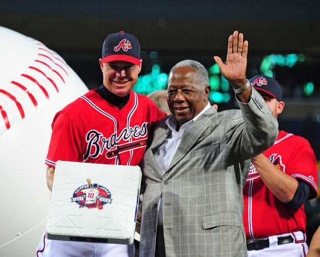 One Braves legend honors another: Chipper Jones and Hank Aaron. (Getty Images)